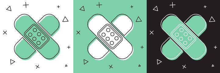 Set Crossed bandage plaster icon isolated on white and green, black background. Medical plaster, adhesive bandage, flexible fabric bandage. Vector Illustration