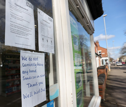 A pharmacy in Stoke-on-Trent advised customers that they have run out of hand sanitiser, as the number of coronavirus (COVID-19) cases grows around the world, Stoke-on-Trent, Britain