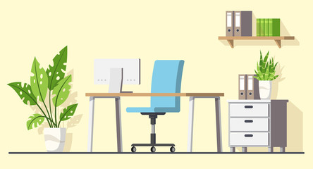 Modern office, interior design. Desk with Computer. Modern flat concept for workspace, web, background and templates. Vector illustration with separate layers.