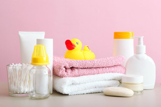 Baby care products on the table. Daily baby care products for skin care, for bathing.