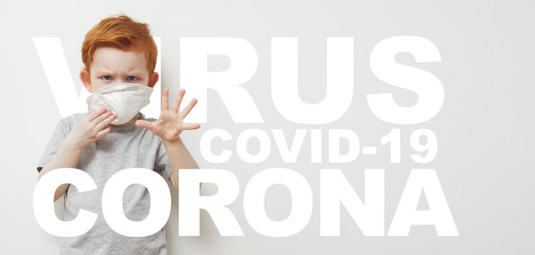 Concept design og boy saying stop and holding his hands up infront of him to Stop Corona virus Covid-19 / 2019nCov while wearing a protecting mask. Text is saying Corona, Virus, Covid-19