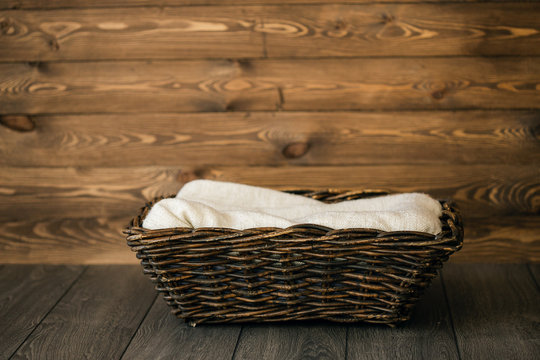 Newborn Digital Background Fall Wood Basket. background