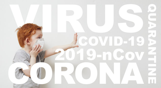 Concept design og boy saying stop and holding his hands up infront of him to Stop Corona virus Covid-19 / 2019nCov while wearing a protecting mask.