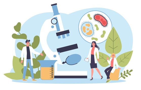 Biology science concept. People with microscope make laboratory