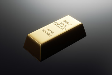 Gold bar isolated in black background. 3d rendering - illustration.