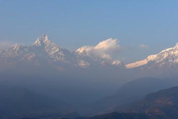 Wall Murals Nepal View at Annapurna massif from Saranghot in Nepal