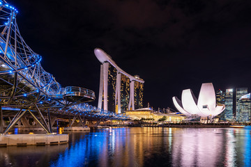 Marina Bay, Singapore, 24 January 2019 : Helix bridge a modern luxury design with Marina bay sand and Singapore financial district background. Asia, Singapore, travel, Cityscape or Tourism concept