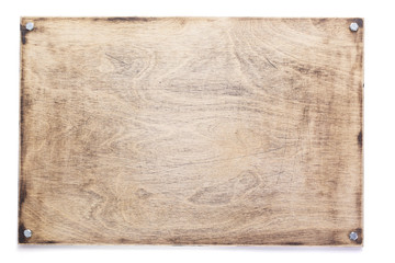 wooden nameplate or wall sign isolated at white