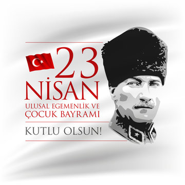 Vector design of the April 23 Turkish National Sovereignty and Children Day