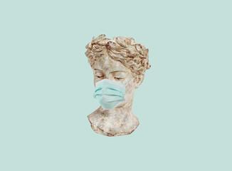 coronavirus art statue  mask coronavirus art statue  mask Fototapete