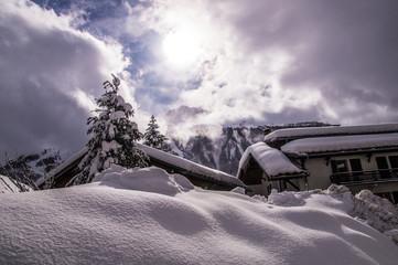 Fotorollo Lavendel winter landscape in the french alps