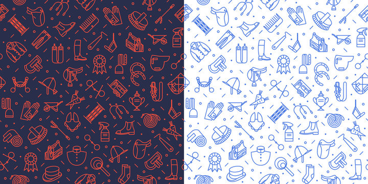 Background with equestrian icons. Horse riding items managed into seamless pattern