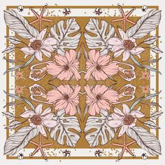 Flower botanical set in rectangle frame, scarf design. Rose flower background, vintage set. Ornament print for interior, decor, cloth, fabrics, wallpaper, banner, social media, advertising. Vector