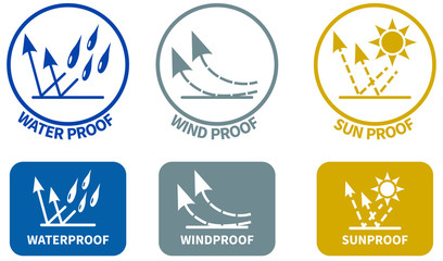 Set of weather resistance icons. Water wind and sun proof signs in circle and rounded square, can be used on textiles