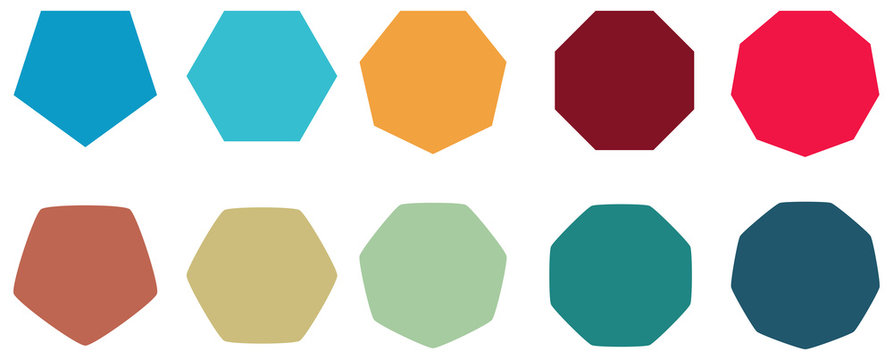 Polygons with various number of sides (pentagon, hexagon, heptagon, octagon, nonagon) icons, sharp and slightly rounded version