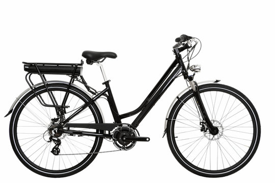 side view of an electric urban bicycle on an isolated white background