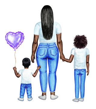 Mother's day watercolor illustration. Afro family. Mother with her kids, standing, back view.