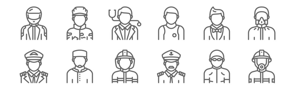 set of 12 profession avatar icons. outline thin line icons such as firefighter, captain, moslem, showman, doctor, soldier