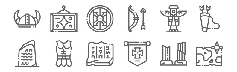 set of 12 history icons. outline thin line icons such as map, medieval, armour, totem, shield, painting Fotomurales