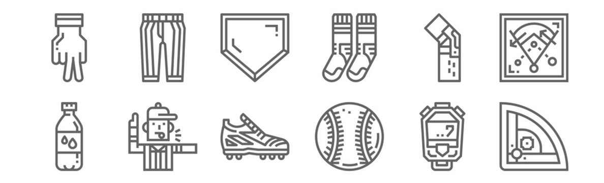 set of 12 baseball icons. outline thin line icons such as baseball field, baseball, referee, kneepad, home plate, pants