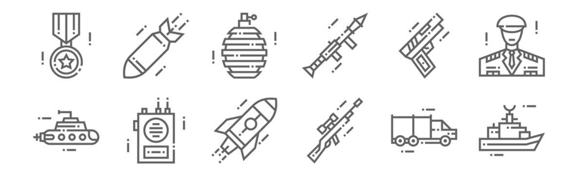 set of 12 military icons. outline thin line icons such as battleship, sniper gun, radio speaker, gun, grenade, bomb