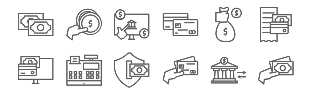 set of 12 payment and bank icons. outline thin line icons such as cash, payment, cash register, investor, online banking, coin