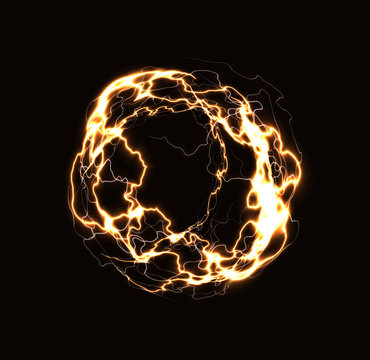 Realistic lightning ring, energy ball, magic sphere, golden plasma on dark background. Isolated vector illustration