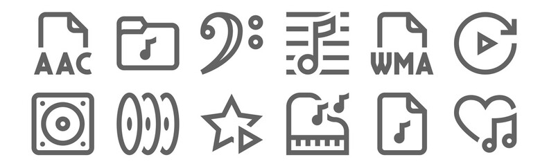 set of 12 music icons. outline thin line icons such as favourite, piano, cd, wma, bass clef, music folder