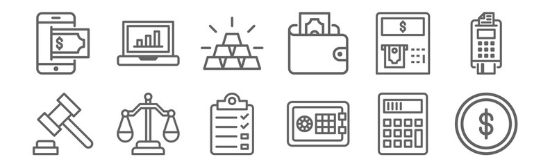 set of 12 business finance icons. outline thin line icons such as coin, safe box, balance, atm, gold, laptop