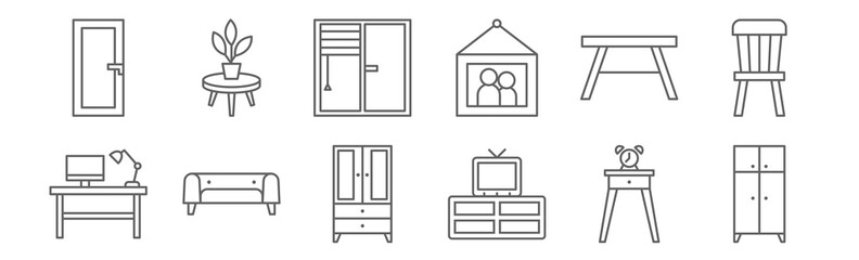 set of 12 furniture icons. outline thin line icons such as wardrobe, cabinet, couch, table, window, flowerpot