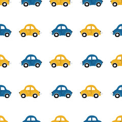 Cute children's seamless pattern with blue and yellow small cars on a light background. Illustration of a automobils in a cartoon style for Wallpaper, fabric, and textile design. Vector