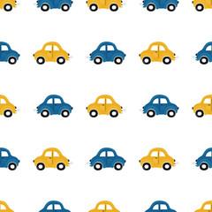 Modèle sans couture pour enfants mignons avec de petites voitures bleues et jaunes sur fond clair. Illustration d& 39 un automobils dans un style cartoon pour papier peint, tissu et design textile. Vecteur