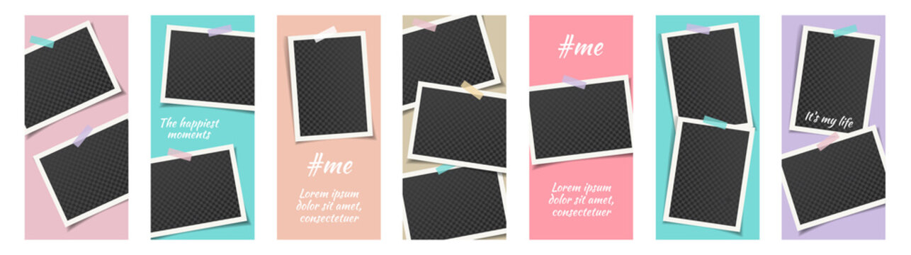 Editable template for social networks stories, vector illustration. Design trendy spring soft color backgrounds for social media. Set of insta stories templates.Banners, flyers with photo frames, text