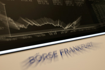 A general view shows the German share prize index DAX board during afternoon trading as markets react on the coronavirus disease (COVID-19) at the stock exchange in Frankfurt