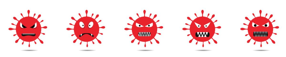 Red coronavirus monster set Fototapete