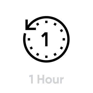 1 Hour icon. Editable Vector Outline