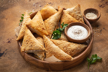 Freshly  baked samosa pasties with meat