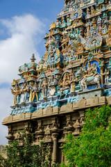 Madurai, India - March 2020: Detail of the gopuram of the Hindu Meenakshi Amman Temple on March 10, 2020 in Madurai, India.