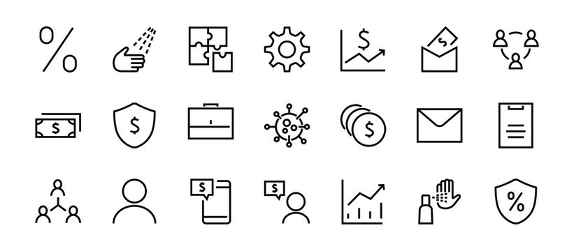 Set of business vector line icons. It contains user symbols, dollar pictograms, gears, briefcase, puzzles, envelope, percentage, messages, schedule, and more. Editable Bar 460x460 pixels.