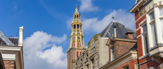 Fototapete - Panorama of the tower of the historic Der Aa church in Groningen, Netherlands