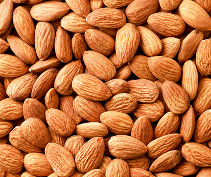 Almonds nuts background. The view from the top.