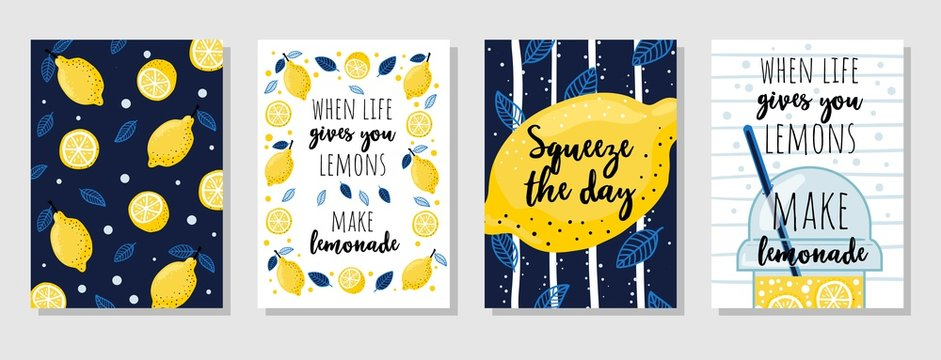 Set of cards with juicy lemons and quotes vector illustration. Collection of posters with motivation lettering cartoon design. When life gives you lemons make lemonade text