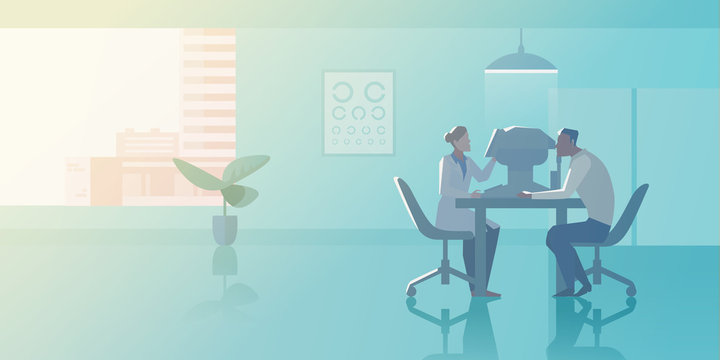 Reception at Ophthalmologist doctor's office Flat vector illustration. Doctor checks vision of Patient in Medical Clinic interior collection.