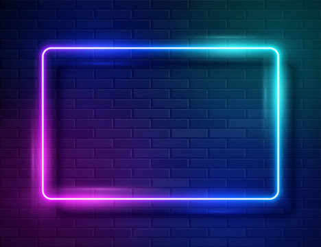 Neon Glowing Rectangle Frame for Banner on Dark Empty Grunge Brick Background