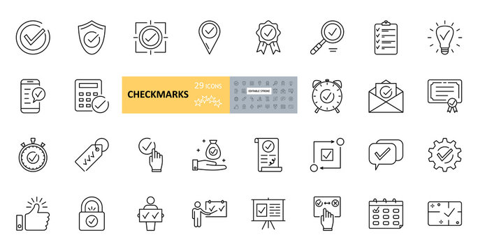 Vector checkmark icons. Set of 29 images with editable stroke. Collection with purpose, protection, agreement, telephone, calculator, mail, magnifying glass, dialogue, clock, guarantee, geolocation.