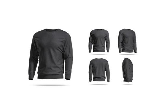 Blank black casual sweatshirt mock up, different views