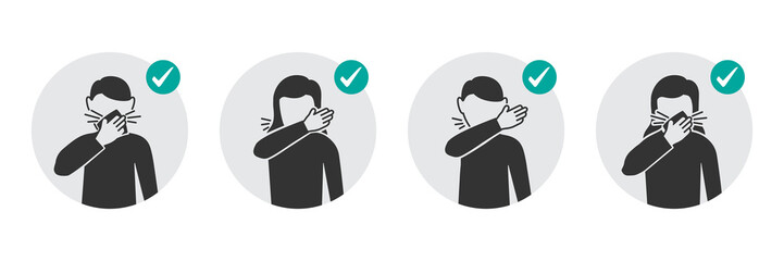 Preventive measures icons how to cough and sneeze and not spreading virus