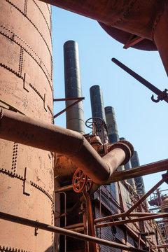 Sloss Furnaces National Historic Landmark, Birmingham Alabama USA, detail of metal industrial complex, vertical aspect
