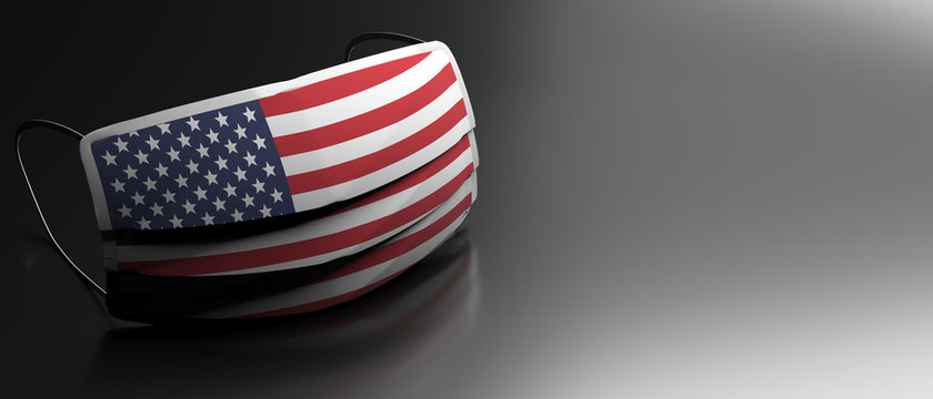 Coronavirus in USA, protective surgical american flag mask on black background. 3d illustration
