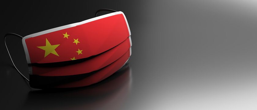 Covid19 virus in China, protective surgical Chinese flag mask on black background. 3d illustration